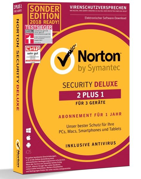 Symantec Vollversion Norton Security Deluxe 3.0 Deutsch 1 User 2+1 Gerät 1 Jahr - Software - Firewall/Security